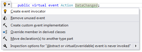 'Create event invocator refactoring in the action list'