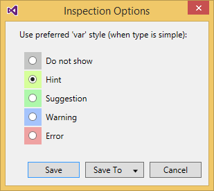 Inspection Options dialog box