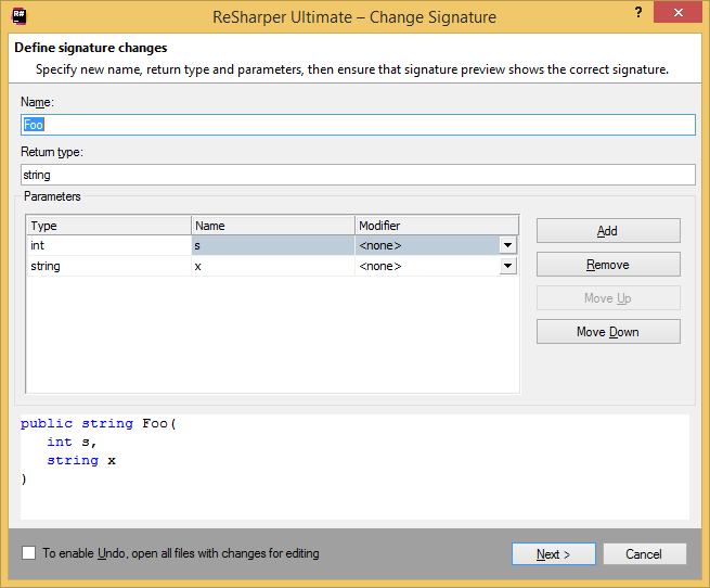 ReSharper Change Signature wizard