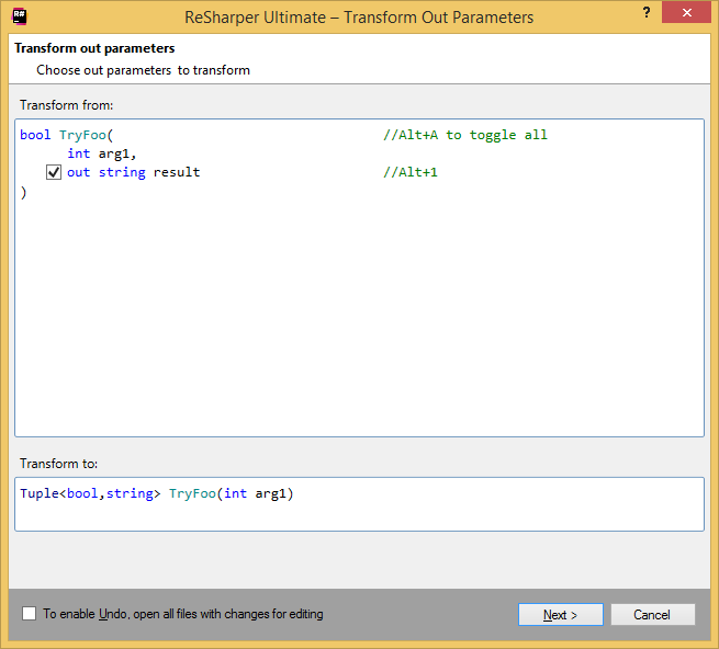 Transforming method's out parameters