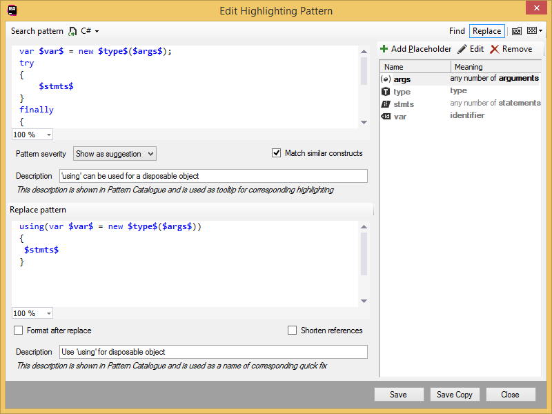 Edit Highlighting Pattern dialog box