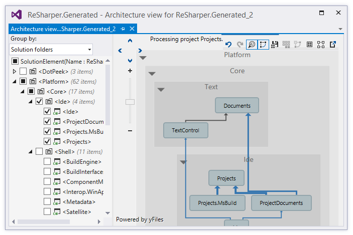 resharper   help    exploring project dependency diagramproject architecture view window