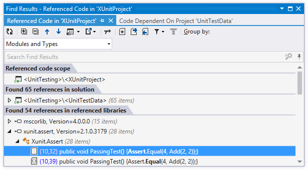 ReSharper helps find code referenced from a project