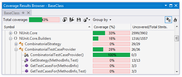 Coverage Tree view in the Coverage Results Browser