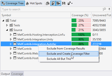Excluding nodes from dotCover coverage results