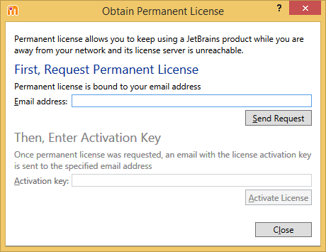 dotMemory. 'Obtain Permanent License' dialog box
