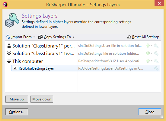 dotCover. 'Setting Layers' dialog box