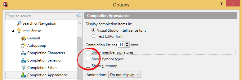 Turning off member signature and summary in ReSharper's completion lists