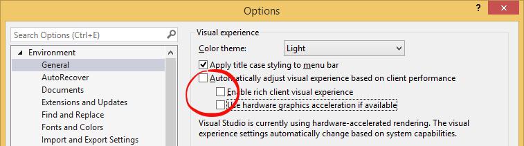 Visual Studio settings that affect editor scrolling