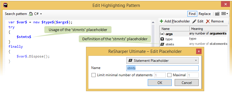 Placeholders in structural search and replace patterns