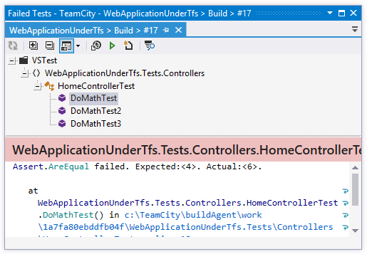 TeamCity Add-in: 'Failed Tests' window