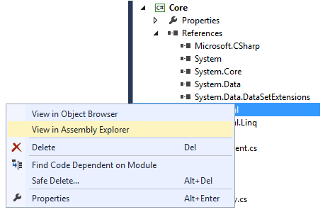 Navigating to the Assembly Explorer from the Solution Explorer
