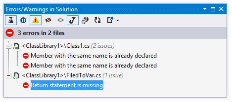 Errors/Warnings in solution window