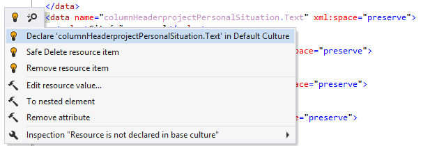 ReSharper helps declare resource entry in the default culture