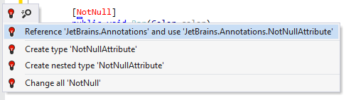 Quick-fix for adding reference to the JetBrains.Annotations module