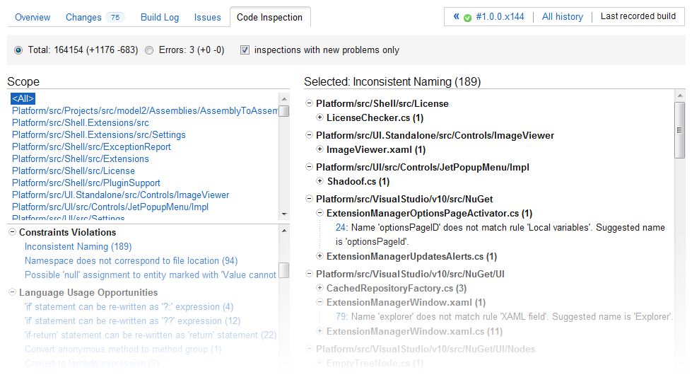 Visual presentation of code issues in JetBrains TeamCity web interface