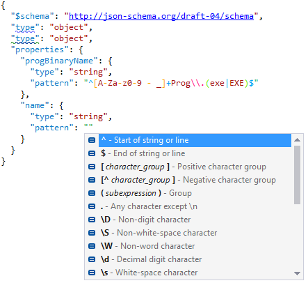 Code inspection and regular expression completion in JSON files