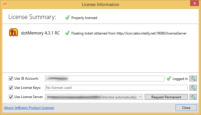 dotMemory. 'License Information' dialog