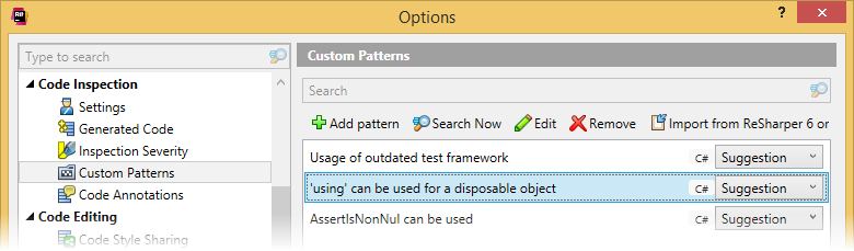 Pattern catalog in ReSharper options