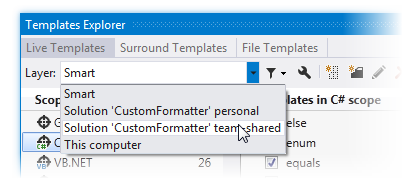 Selecting settings layer in Template Explorer