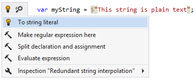 Converting string interpolation without parameters into string literal