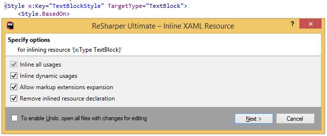 Inline XAML Resource refactoring