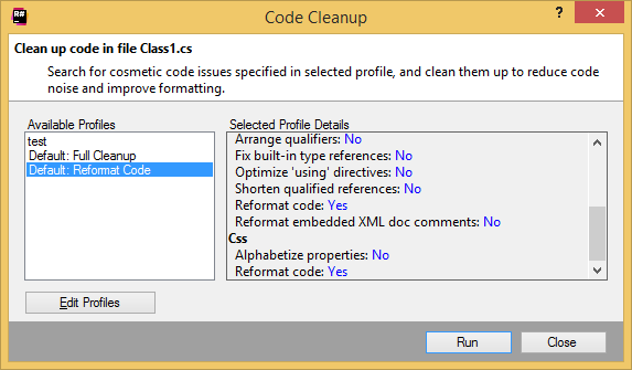 Code Cleanup dialog