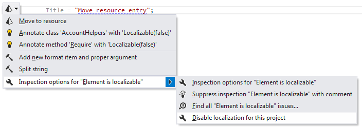 Disabling localization inspection for project