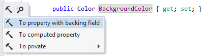 To property with backing field context action