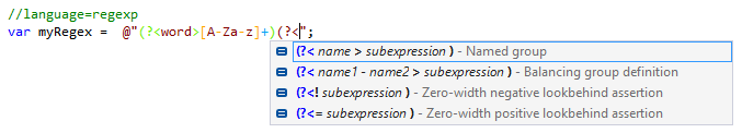 Regex injection in C# string with comment