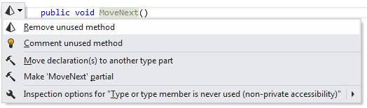 'Remove unused method' fix in the action list