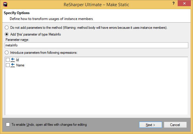 ReSharper. 'Make Static' refactoring