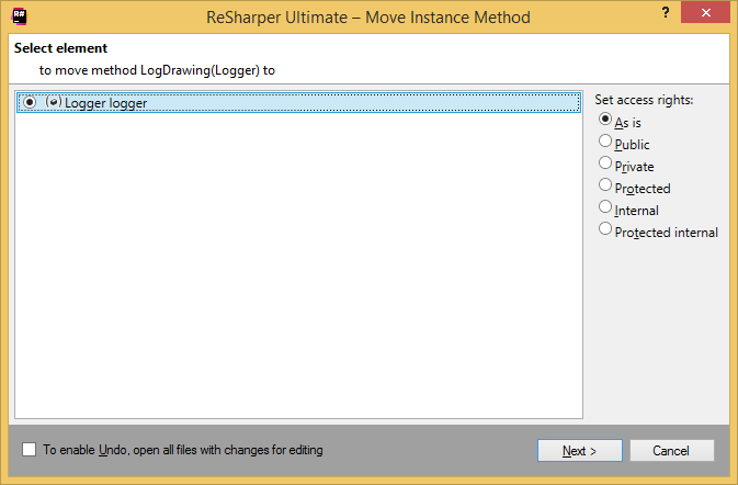 ReSharper. Move Instance Method refactoring