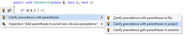 Adding optional parentheses to clarify operation precedence