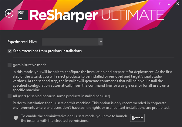 ReSharper installe. Custom settings