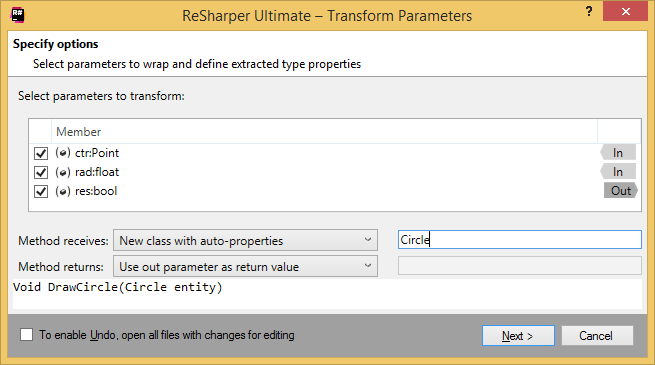 ReSharper. Transforming method's parameters