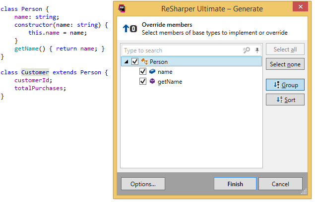 ReSharper. Generating overriding members for a TypeScript class