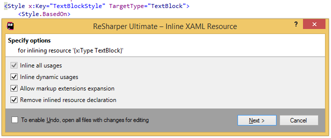 Inline XAML Resource refactoring