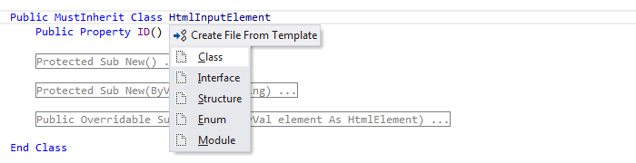 ReSharper by Language Visual Basic Create File