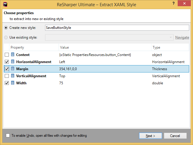 ReSharper by Language XAML Refactorings Extract Style 02
