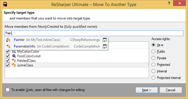 ReSharper.'Move to Another Type' refactoring