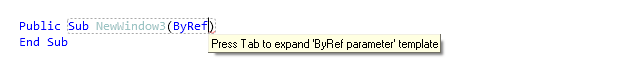 Reference Options Templates Live Templates Predefined VB NET Other byref before