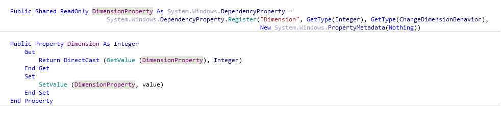 Reference Options Templates Live Templates Predefined VB NET Other dependencyProperty after