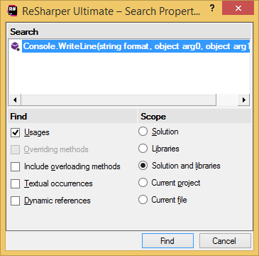 ReSharper. 'Search Properties' dialog