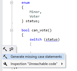 Generating missing case statements in C++