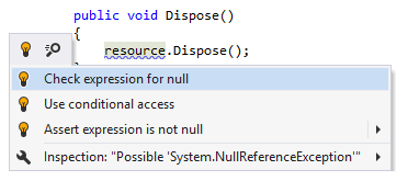 ReSharper: Check expression for null quick-fix