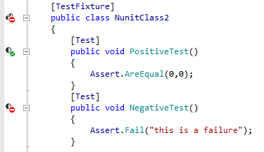 Rider shows different indicators for unit tests in the editor