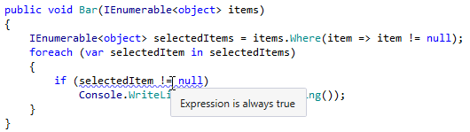 Redundant nullability check for collection item