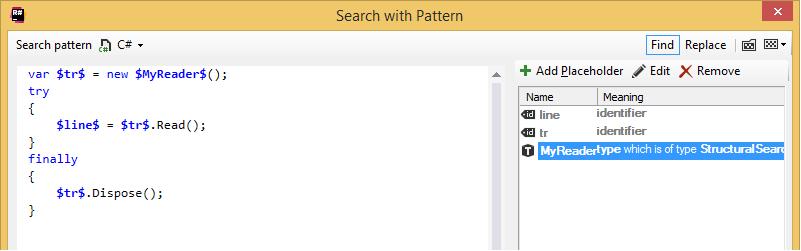 ReSharper's custom code inspections. Raw inspection pattern