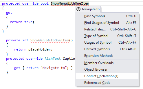 Navigation and Search Navigate from Here conflictingdeclarations